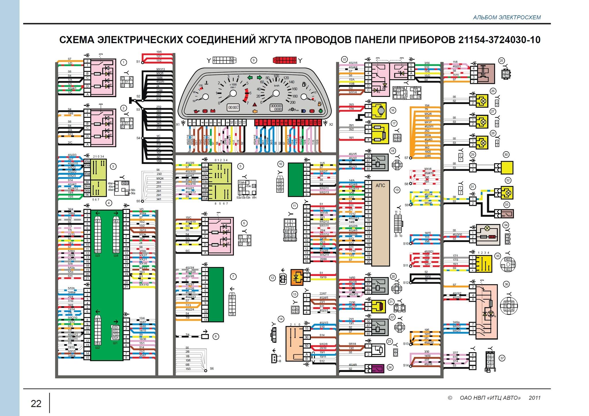 Схема комбинации приборов ваз-21102