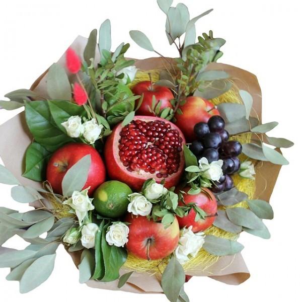 Фото букетов с фруктами и цветами
